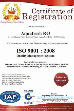 aquafresh ro iso certified